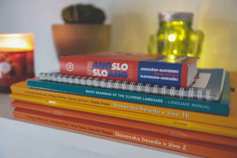 Stack of Slovenian books and dictionary
