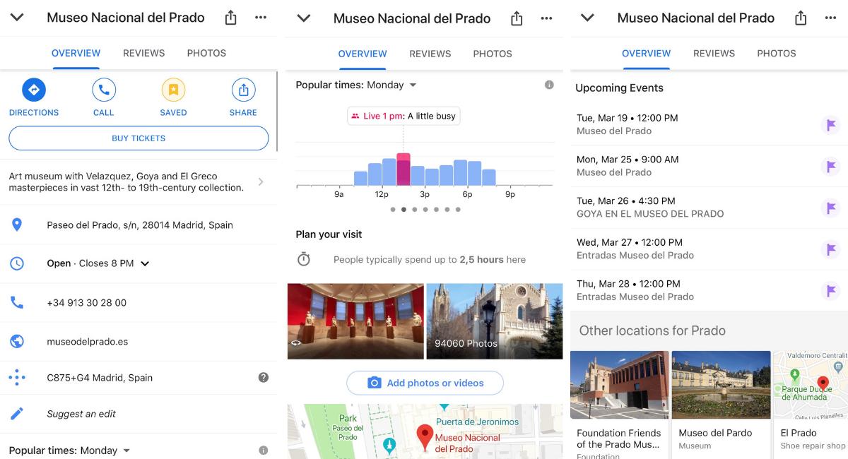 info in google maps