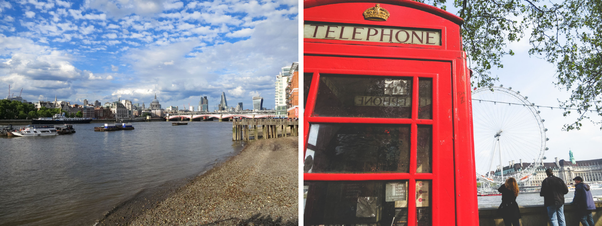 London telephone booth and thames