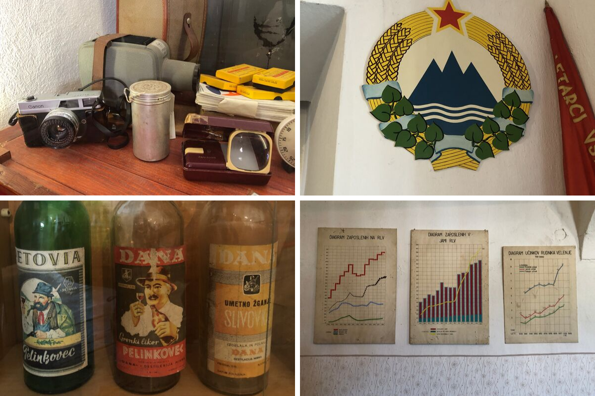 Various artifacts found around Velenje Museum such as old cameras, bottles, and posters