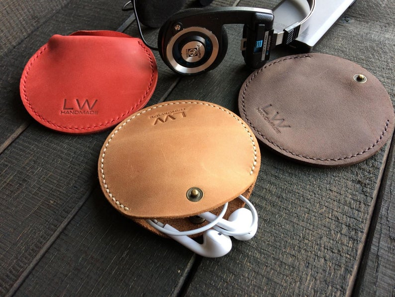round leather earphone case
