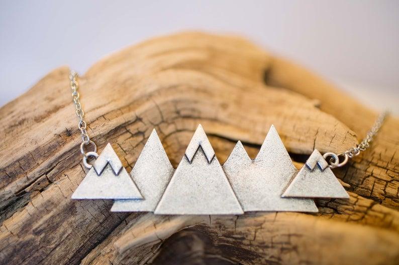unique travel gift mountain range necklace