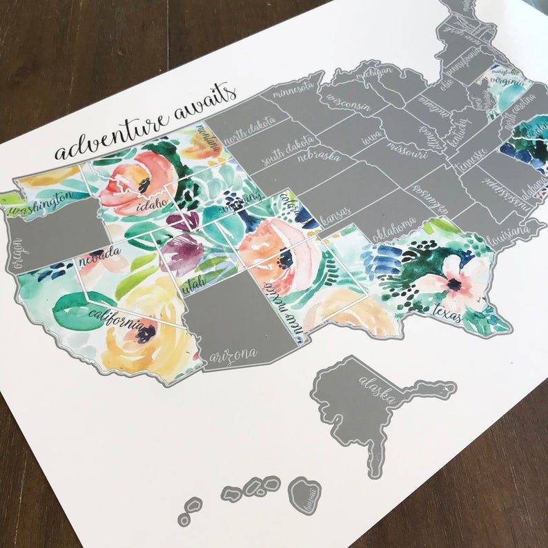 scratch off usa map gift