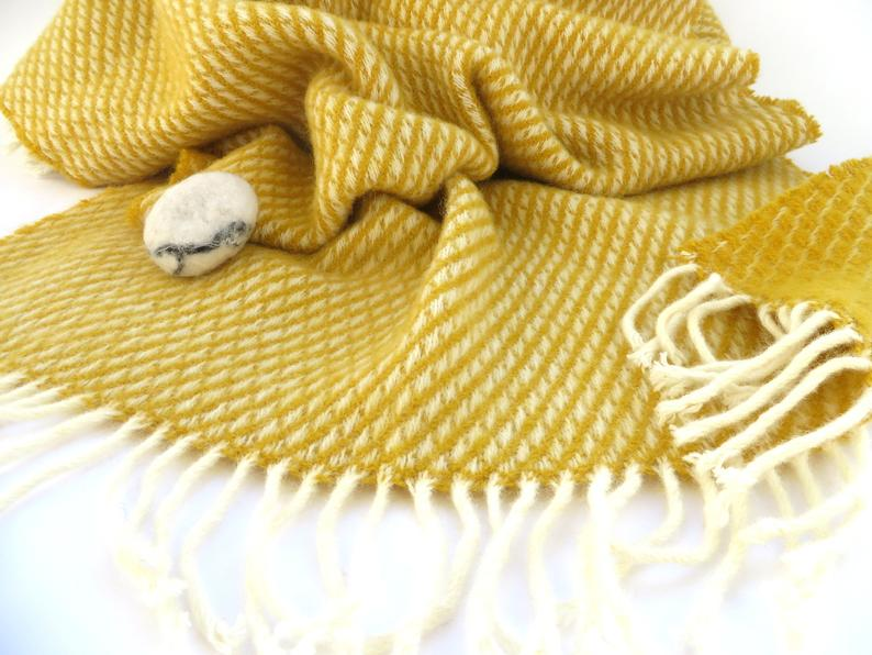 yellow wool blanket scarf perfect travel gift