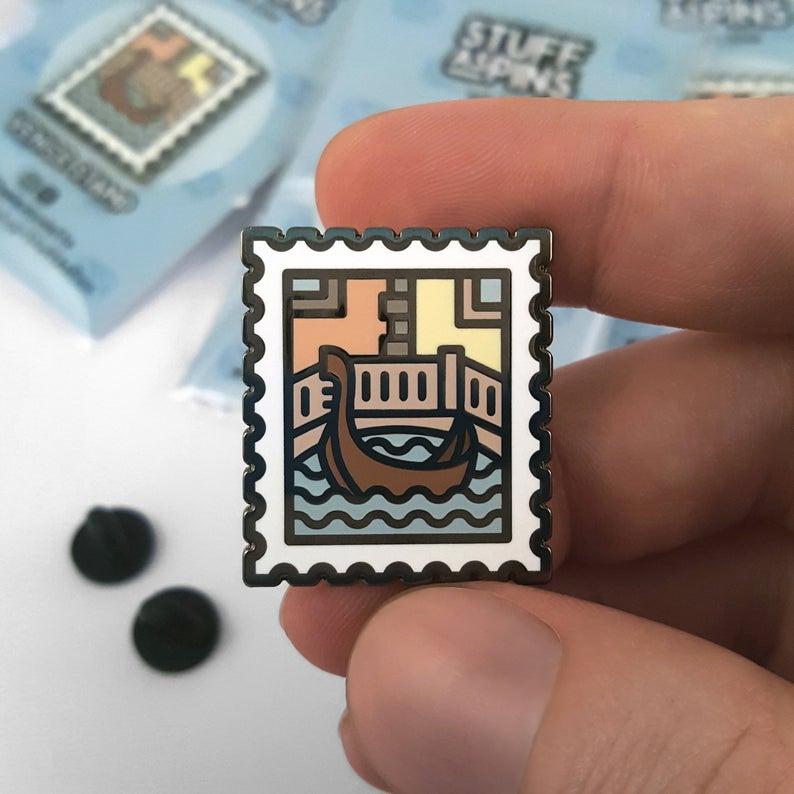 venice stamp enamel pin