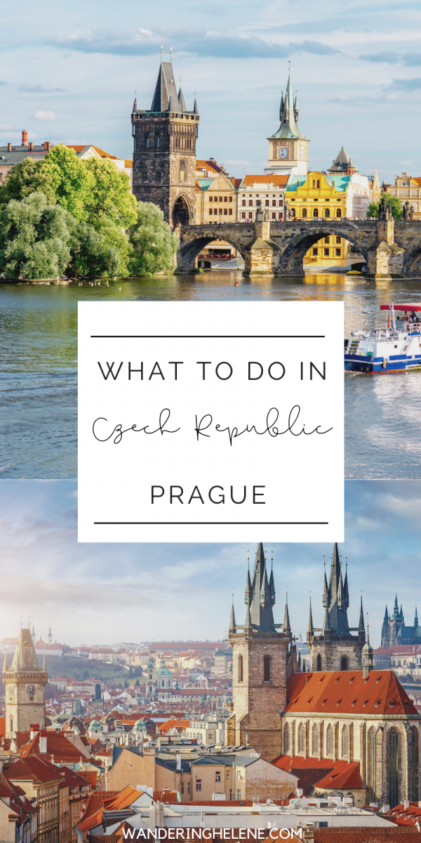 two images of prague for a pinterest pin. Top one of charles bridge and bottom of skyline