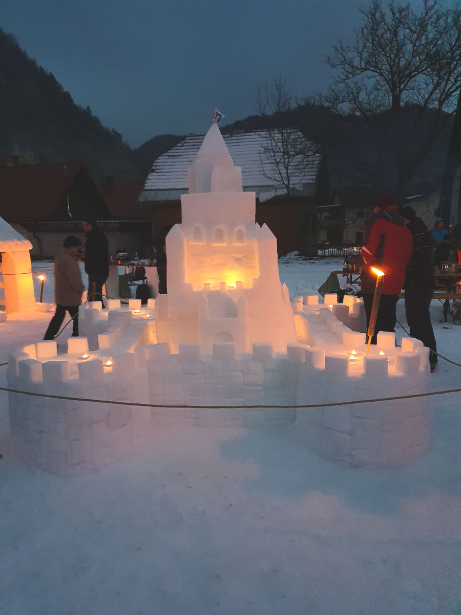 snow castle with lights
