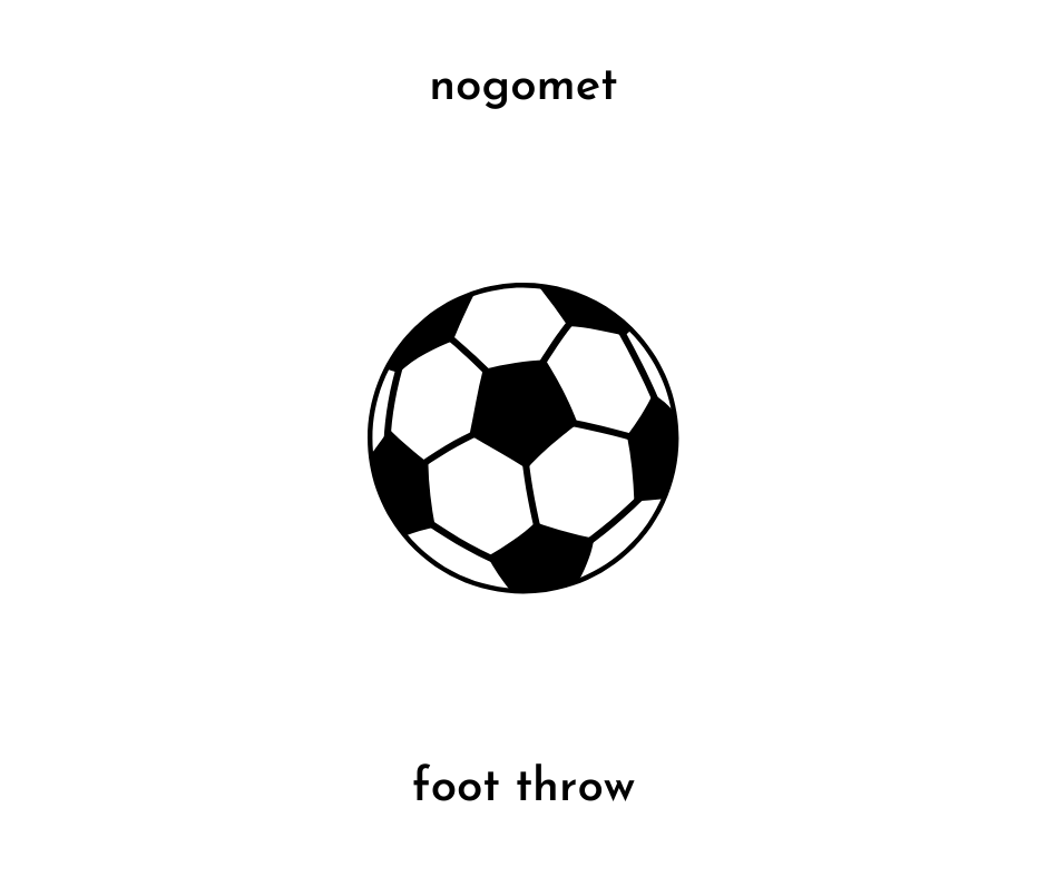 picture of a soccer (or football) the word nogomet and foot throw for slovene to english translation