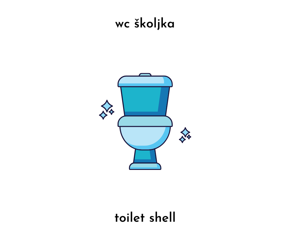 image of a toilet and the text wc skoljka and toilet shell